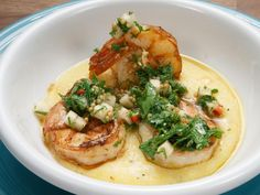 Shrimp and Grits with Green Apple-Parsley Salsa Recipe | Alex Guarnaschelli | Food Network Seafood Stew, Seafood Dinner, Fish And Seafood, Worst Cooks, Shrimp N Grits, Cereal Recipes, Salsa Recipe, Breakfast Recipes, Breakfast Ideas