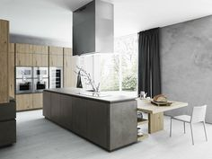 FITTED KITCHEN WITH ISLAND WITHOUT HANDLES CLOE 02 BY CESAR ARREDAMENTI | DESIGN GIAN VITTORIO PLAZZOGNA