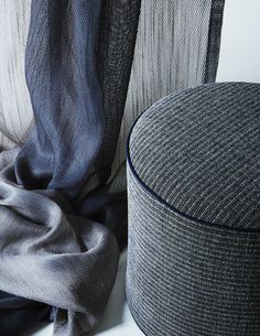 Loft Upholstery + Aura Drapery by Carnegie Blue Color Schemes, Colour Pallete, Carnegie Fabrics, Mood Images, Beige Aesthetic, Textiles, Dark Interiors, Curtains With Blinds, Curtain Fabric