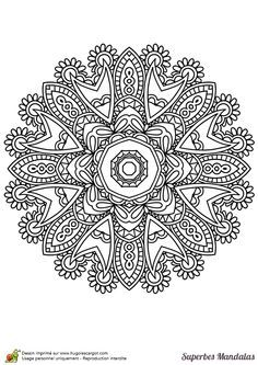 Coloriage d'un superbe mandala indien facile à colorier - Hugolescargot.com Mandalas