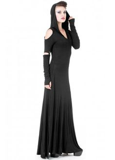Queen of Darkness Hooded Cut Out Shoulder Maxi Dress