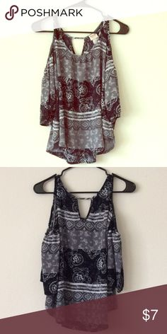 Peekaboo shoulder 3/4 top! Peekaboo shoulder 3/4 top! Strap at top and shoulder is cut out, then sleeve again for the 3/4 look. It has a pretty design all over the top and is a combo of black, gray, and white. Great over a pair of jeans. Tops Blouses