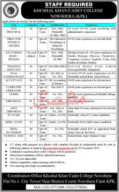 Khushhal Khan Cadet College Nowshera KPK Jobs 2021