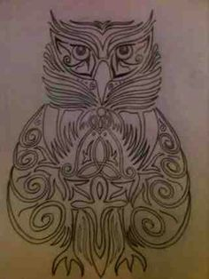 Triple Influence Owl Drawing Wiccan Tattoos, Owl, Boards, Sketches, Woodworking, Drawings, Planks, Owls, Doodles