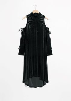 Other Stories image 1 of Velour Cut-Out Shoulders Dress in Black