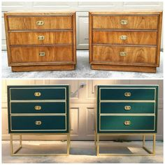 nightstand makeover--stunning green and gold from One Room Challenge Master Bedroom – Week Four