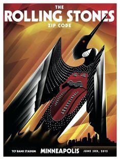 Rolling Stones alternate tour poster for 'Zip Code' in Minneapolis, June 3, 2015