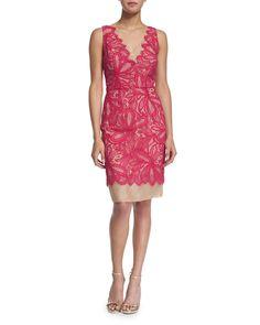 Sleeveless Lace-Overlay Sheath Dress, Pink Clash, Size: 2