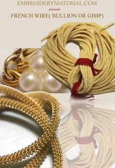 Style:- French Wire  Colour:- Gold  Product Details:- Also known as bullion or gimp, is a fine coil wire used by Apparel & Accessory designers. In Apparel, it can be used to do different kind of embroidery using Zardosi technique and In Accessory, It is used to conceal beading wire next to crimps and clasps. Proponents maintain that French wire gives jewelry an elegant, professionally finished look while also protecting and strengthening the ends of the beadwork.