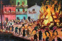 Benito Quinquela Martin - incendio en la boca
