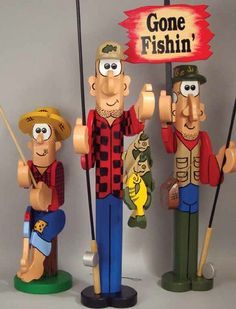 19-W2830 - Post Fishermen Woodworking Plan Set - 3 plans included