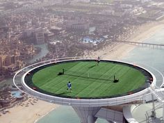 Burj Al Arab is famous for going that extra mile for pleasing its guests. And if you happen to be one of the best tennis players on the planet they will be gracious enough to convert their helipad for you to play!