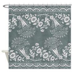 Attitude Attic: Vintage Floral Lace Shower Curtain: Vintage floral lace pattern on soft textured background. Border Pattern, Border Design, Pattern Art, Pattern Design, Vintage Floral, Floral Lace, Beaded Embroidery, Embroidery Designs, Lace Shower Curtains