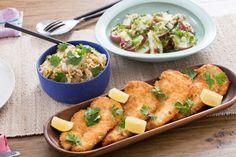 Chicken Schnitzel with German-Style Potato Salad & Quick Sauerkraut. Visit http://www.blueapron.com/ to receive the ingredients.
