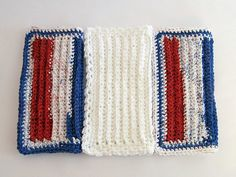 Crochet Washcloths Dishcloths Red White Blue by TalicakeCrochet