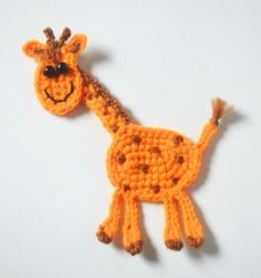 (4) Name: 'Crocheting : Giraffe applique