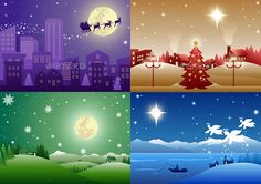 Set of 4 colorful Christmas Town illustrations, fully editable in separate vector formats.
