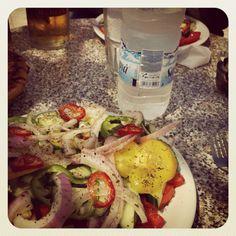 Greek salad and wather 😊 Greek Salad, Meat, Chicken, Drinks, Food, Drinking, Beverages, Essen, Drink