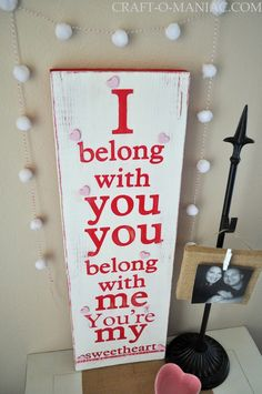 Craft-O-Maniac: Youre My Sweetheart- Song Lyric Painted Board
