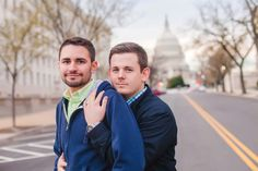 Justin and Nathan's city engagement photography session in Washington, D.C.  (See more and read their love story on Equally Wed, the world's leading same-sex wedding magazine and website for gay, lesbian, transgender, queer and bisexual couples. equallywed.com) Photo by Casey Hendrickson