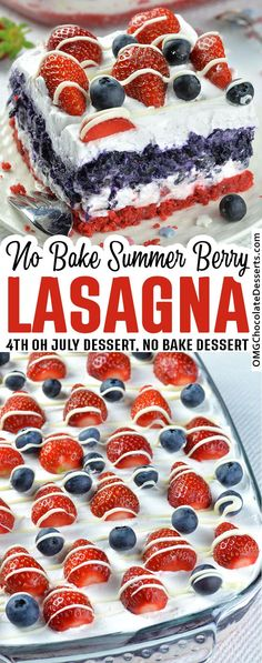 No Bake Berry Cheesecake Lasagna. It is so Creamy, Decedent, Patriotic, full of Berry Goodness and the best part, no Oven required! #no #bake #berry #dessert Easy Summer Desserts, Summer Dessert Recipes, Desserts To Make, Easy Cake Recipes, Healthy Dessert Recipes, No Bake Desserts, Sweet Recipes, Baking Recipes, Delicious Desserts