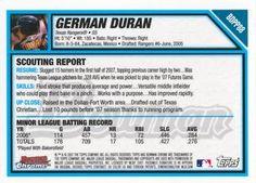 2007 Bowman Draft Picks & Prospects - Chrome Futures Game Prospects #BDPP88 German Duran Back