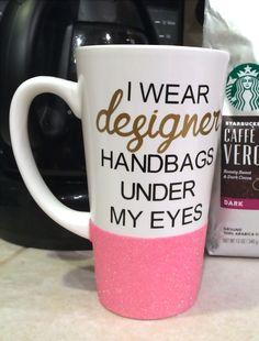 Glitter Coffee Mug - Designer Handbags by SomethingMoore1 on Etsy