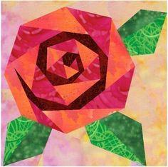 Rosie's Rose paper pieced quilt block von PieceByNumberQuilts
