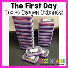 Crayon organization.  Miss DeCarbo has these ready to go inside of everyone's desks with a coloring sheet. (containers - Wal-Mart $1)  The students work on that and she can deal with supplies.