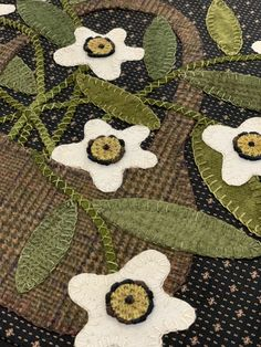 We are on block How exciting this this! More bullion knots! Here is a close up of block Click… Continue reading → Wool Pillows, Wool Rug, Wool Felt, Wool Applique, Applique Quilts, Garden Blocks, Wool Quilts, Moon Garden, Primitive Gatherings