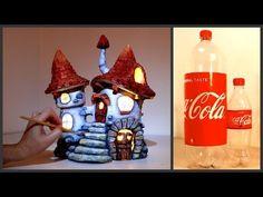aus pet flaschen pilz ❣DIY Inn Fairy House Lamp Using Coke Plastic Bottles❣ Clay Fairy House, Fairy Houses, Plastic Bottle Crafts, Plastic Bottles, Tree Lanterns, Bottle House, House Lamp, Mushroom House, Fairy Lamp