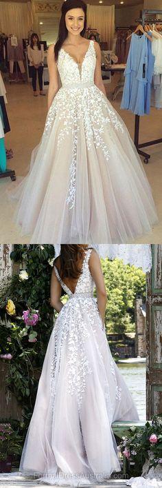Long Formal Dresses Lace, V-neck Formal Dress 2018, Appliques Evening Dresses, Princess Party Dresses Cheap