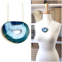 """A large agate druzy slice in rich tones of blue! Such a stunning statement piece.   Gold plate detailing and chain. Chain measures 18"""" long, while the agate slice is 2.75"""" long.   All Square Peg Meg jewelry arrives ready for gift giving in our signature Kraft paper boxes with metallic gold baker's twine!"""