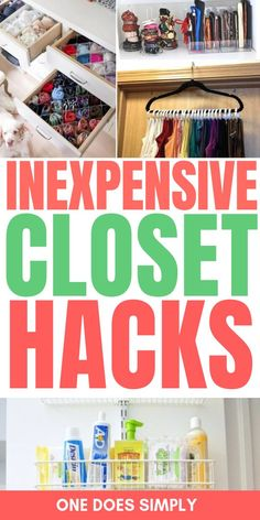 These inexpensive closet organization ideas are SO GENIUS! Im so glad that these clever home organization ideas on a budget do exist in this world! Now I know some creative ways to organize a closet while staying on a budget! Small Closet Organization, Organization Hacks, Organize A Closet, Bedroom Organization, Organizing Ideas, Motto, How To Make Drawers, Closet Hacks, Closet Ideas