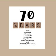 70th Birthday Card Milestone The Big 70 1944 40th
