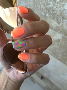 Neon nails gelish orange natural nails