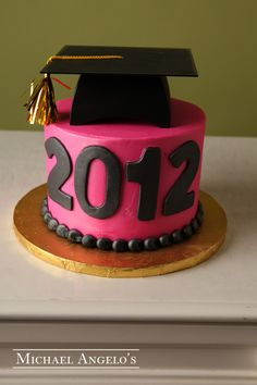 Pink Graduate #33Graduation This cake is iced in buttercream and can be colored to match any school or theme. Small or large polka dots are great accents along with the fondant cut-outs of the graduation year. The graduation cap and diploma also make this cake look complete for anyone graduating.