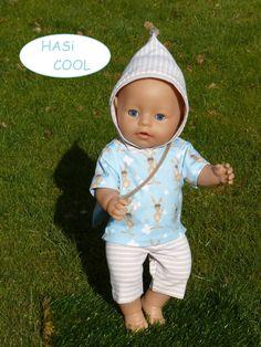2d36e03eae Dolls Clothing Size 40-45 cm 3pcs set e.g. for Babyborn 43 cm young Bunny  bunny Puppenhoodie light Blue beige sports bag hooded shirt shorts