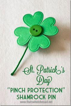 Pinch Protection Shamrock Pin at thatswhatchesaid.net  #crafts #stpatricksday #shamrock #CraftsDIYSerendipity #crafts #diy #projects #tutorials Craft  and DIY Projects and Tutorials ###