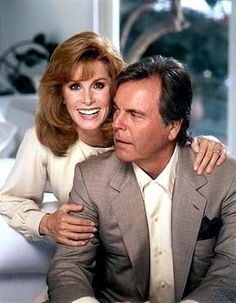 "Robert Wagner as Jonathan and Stefanie Powers as Jennifer Hart.  Taken during filming of the 1994 movie, ""Hart To Hart: Home Is Where The Hart Is"""