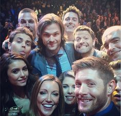 Jared Padalecki, Jensen Ackles, Misha Collins, John Barrowman, Nina Dobrev, and Paul Wesley.