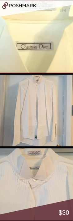 Tux shirt just dry cleaned Christian Dior has a little yellowing on collar. Christian Dior Shirts Dress Shirts