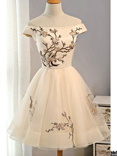 Cap Sleeves Embroidery Tulle Homecoming Dress Short Party Dresses(ED2032)