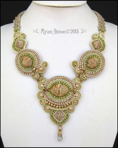 Soutache Picture Jasper beaded necklace in Olive by MiriamShimon, $225.00