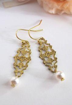 Gold Earrings Brass Lace Filigree