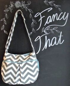 Best Seller  Large Chevron Purse IPad Gray by ShoppeFancyThat, $60.00