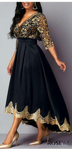 ankara mode High Waist V Neck Lace Panel Dress Elegant Dresses, Pretty Dresses, Sexy Dresses, Beautiful Dresses, Evening Dresses, Simple Dresses, Belted Dress, The Dress, Ankara Mode