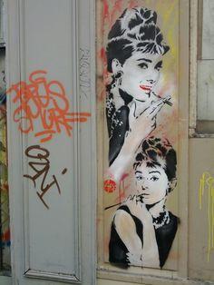 Audrey Hepburn by Nice Art #Streetart #Paris #Urbacolors