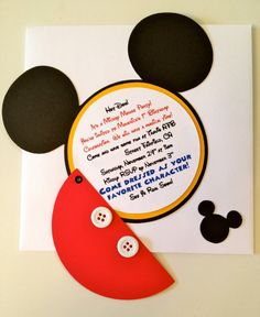 This Mickey Mouse invitation is handmade for your special occasion. Please see our list below for additional matching items available to make your