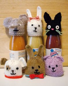 Mes petits bonnets-animaux Eléphant, lapins, chien, ourson, chat Knitting For Charity, Free Knitting, Knitted Animals, Knitted Hats, Cute Crochet, Knit Crochet, Innocent Drinks, Innocence Project, Big Knits